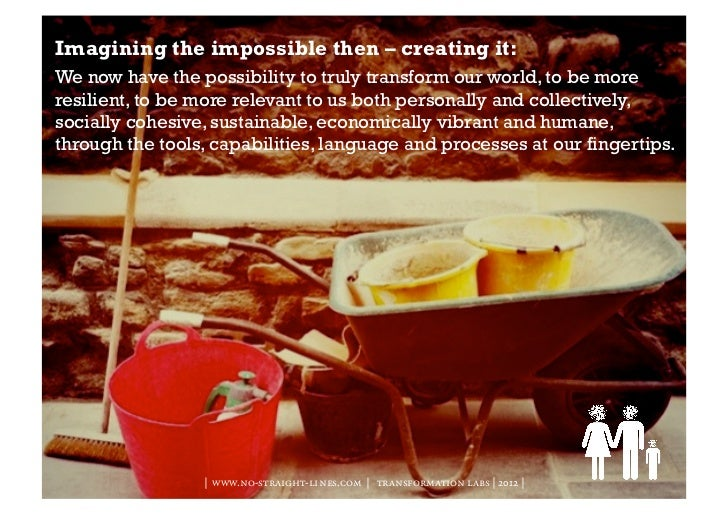 Imagining the impossible then – creating it:We now have the possibility to truly transform our world, to be moreresilient,...