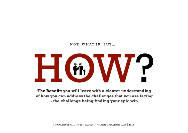 n o t ' w h at i f ' b u t …HOW? The Benefit: you will leave with a clearer understandingof how you can address the challe...