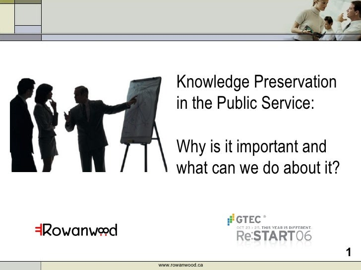 Knowledge Preservation in the Public Service:  Why is it important and what can we do about it?  www.rowanwood.ca
