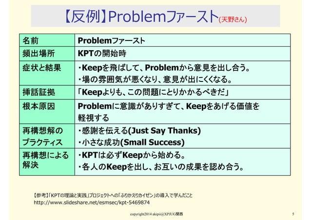 【反例】Problemファースト(天野さん) copyright2014 akipii@XPJUG関西 5 名前名前名前名前 Problemファーストファーストファーストファースト 頻出場所頻出場所頻出場所頻出場所 KPTの開始時の開始時の開始...