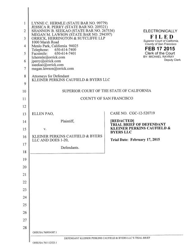 Kleiner Perkins Trial Brief in Ellen Pao Gender Discrimination Lawsuit