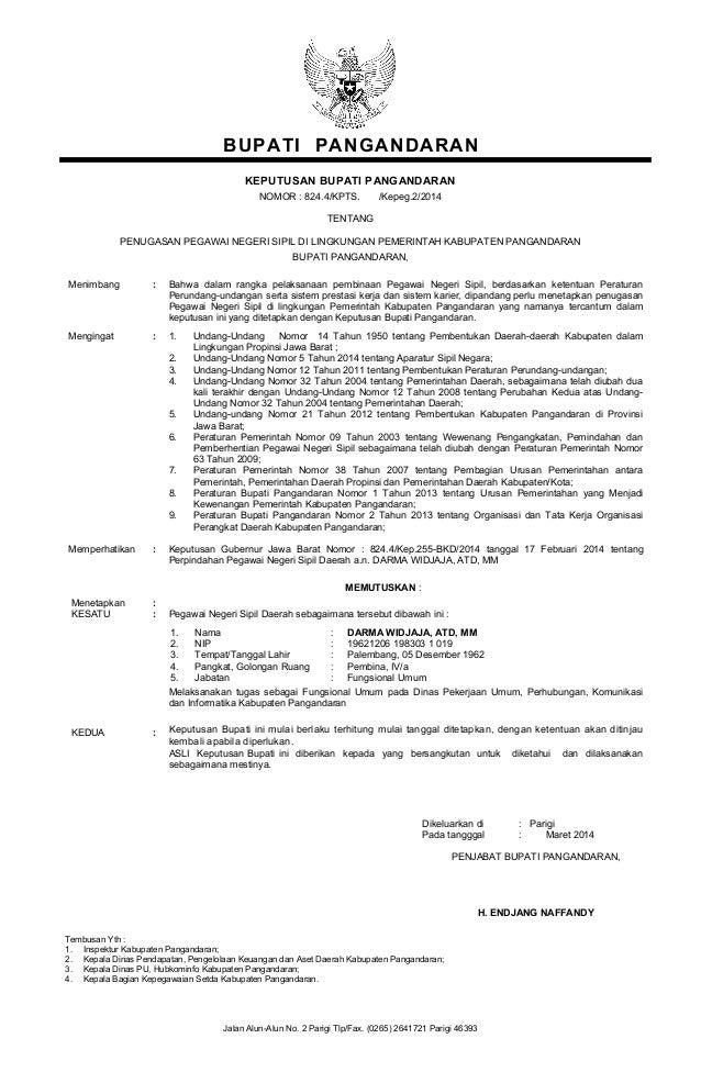 Kpts Bupati Penugasan Pegawai Dr Mutasi Masuk Ke Kabupaten