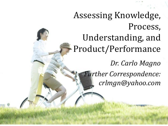Assessing Knowledge, Process, Understanding, and Product/Performance Dr. Carlo Magno Further Correspondence: crlmgn@yahoo....