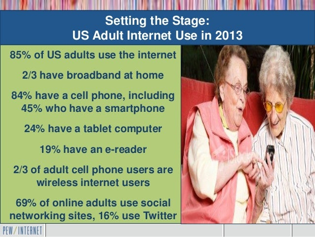 Setting the Stage:            US Adult Internet Use in 201385% of US adults use the internet    Mobile is the  2/3 have br...