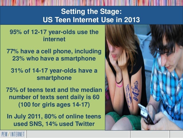 Setting the Stage:            US Teen Internet Use in 2013 95% of 12-17 year-olds use the      Mobile is the            in...