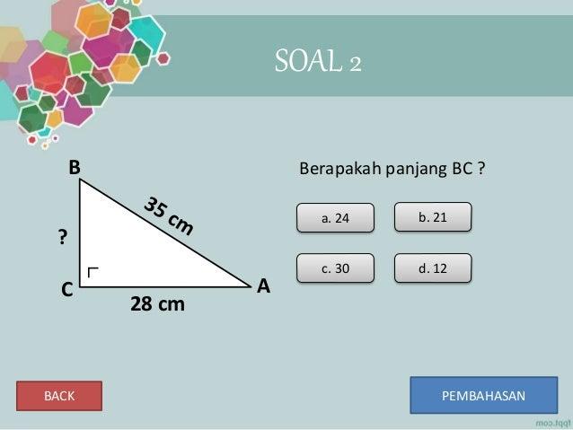 soal essay teorema pythagoras Teorema pythagoras standar kompetensi menggunakan teorema pythagoras dalam pemecahan masalah kompetensi dasar soal 2 tripel pytagoras bilangan tripel.