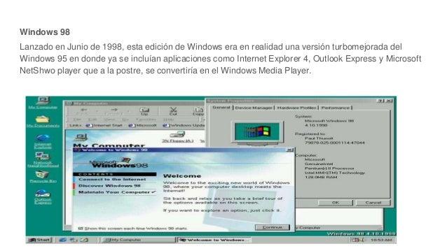 Windows 98 Lanzado en Junio de 1998, esta edición de Windows era en realidad una versión turbomejorada del Windows 95 en d...