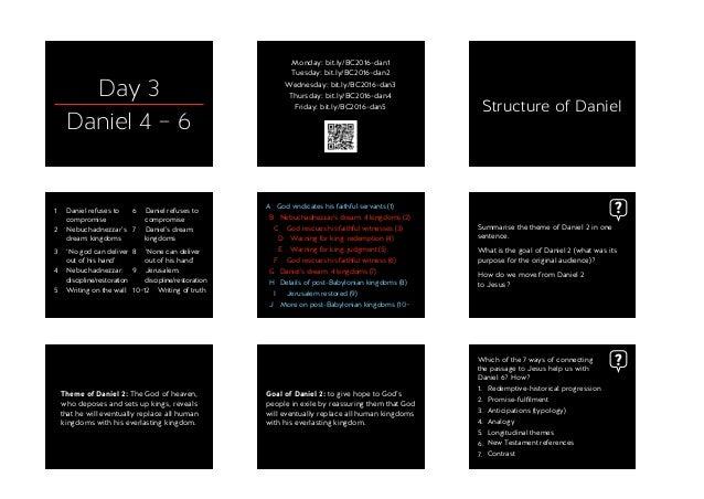 Day 3 Daniel 4 – 6 Monday: bit.ly/BC2016-dan1 Tuesday: bit.ly/BC2016-dan2 Wednesday: bit.ly/BC2016-dan3 Thursday: bit.ly/B...