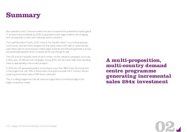 A multi-proposition, multi-country demand centre programme generating incremental sales 284x investment 02Entry category 1...