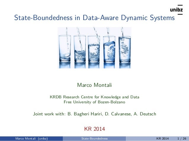 State-Boundedness in Data-Aware Dynamic Systems Marco Montali KRDB Research Centre for Knowledge and Data Free University ...