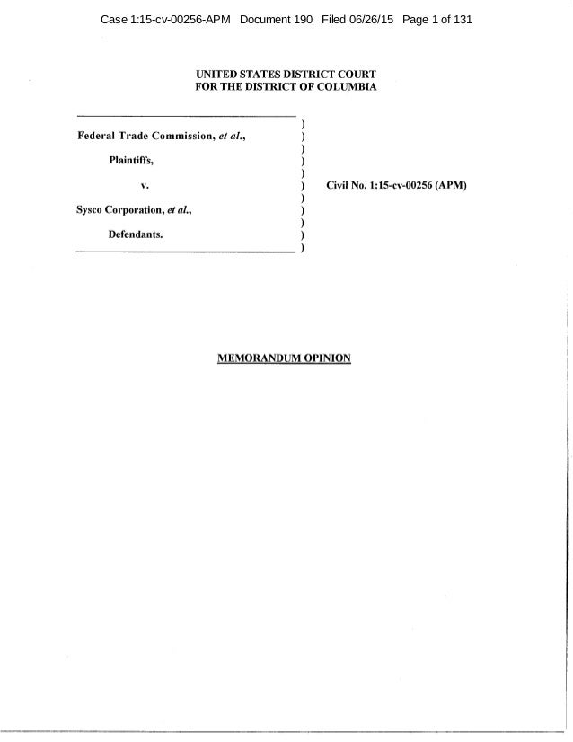 UNITED STATES DISTRICT COURT FOR THE DISTRICT OF COLUMBIA Federal Trade Commission, et al., ) ) ) ) ) ) ) ) ) ) Plaintiffs...