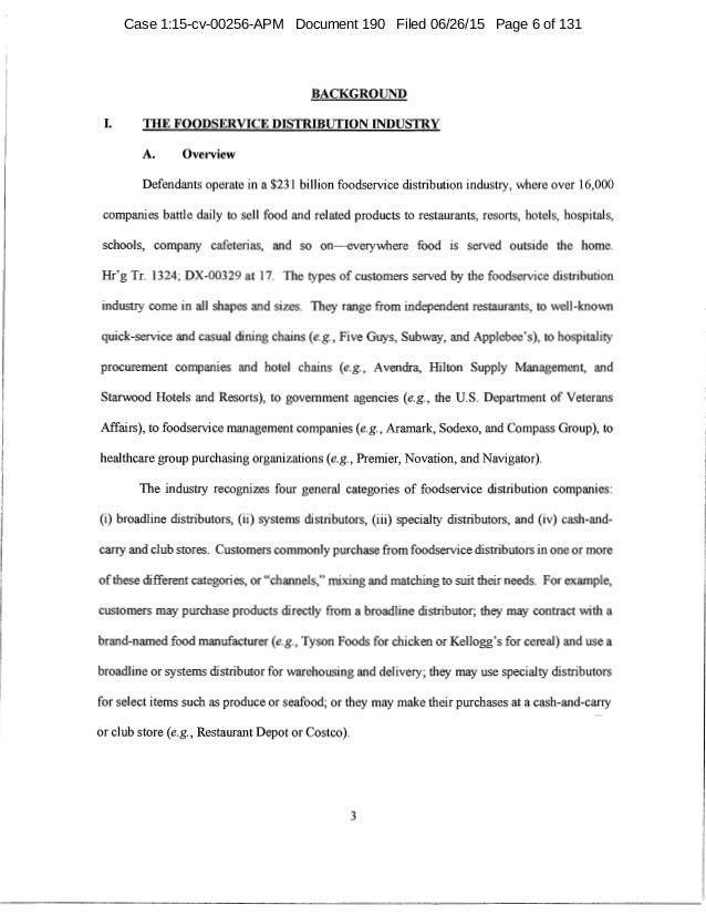 Memorandum Opinion Sysco Us Foods Merger Acquisition