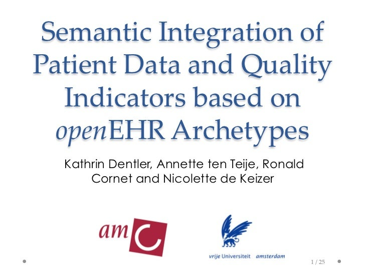 Semantic  Integration  of  Patient  Data  and  Quality     Indicators  based  on    openEHR  Archetypes	   Kathrin Dentler...