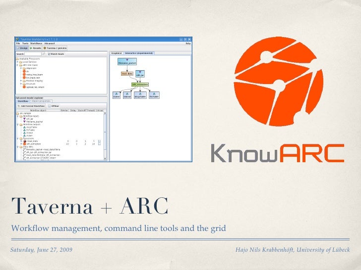 Taverna + ARC <ul><li>Workflow management, command line tools and the grid </li></ul>Saturday, June 27, 2009 Hajo Nils Kra...
