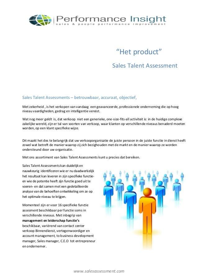 """Het product""                                                             Sales Talent AssessmentSales Talent Assessments ..."