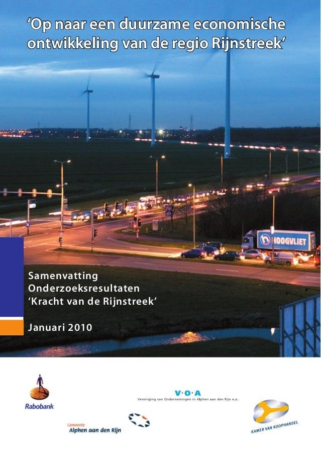 'Op naar een duurzame economischeontwikkeling van de regio Rijnstreek'SamenvattingOnderzoeksresultaten'Kracht van de Rijns...