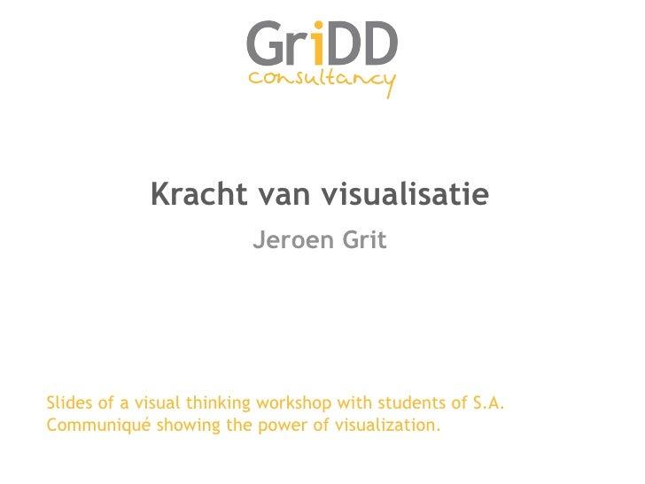 Kracht van visualisatie <ul><li>Jeroen Grit </li></ul>Slides of a visual thinking workshop with students of S.A. Communiqu...