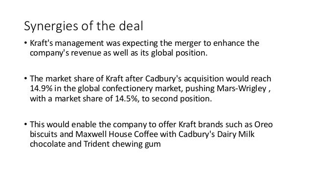 reasons and implications of the cadbury kraft merger See our complete analysis for the kraft foods group the merger according to the terms of the deal, the current shareholders of heinz will hold a 51% stake in the newly formed company these shareholders include 3g capital and berkshire hathaway the remainder will go to the current shareholders of kraft.