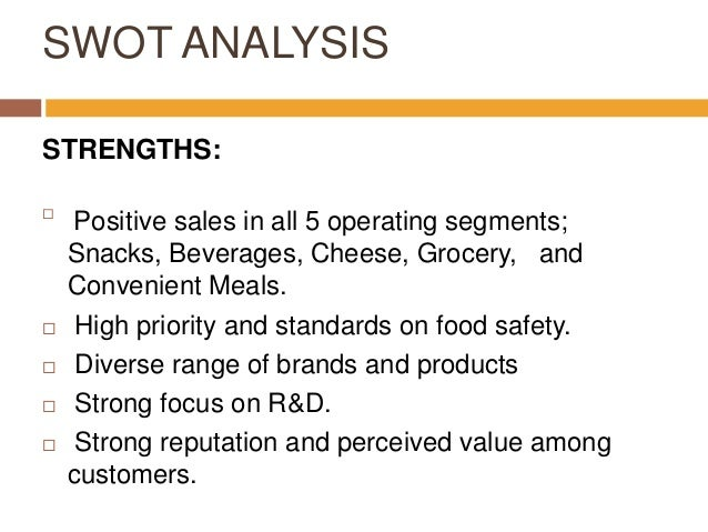 external analysis of kraft foods View this swot on kraft foods swot and competitive strategies the use of the different analytical models on kraft foods may be brought together on a table using.