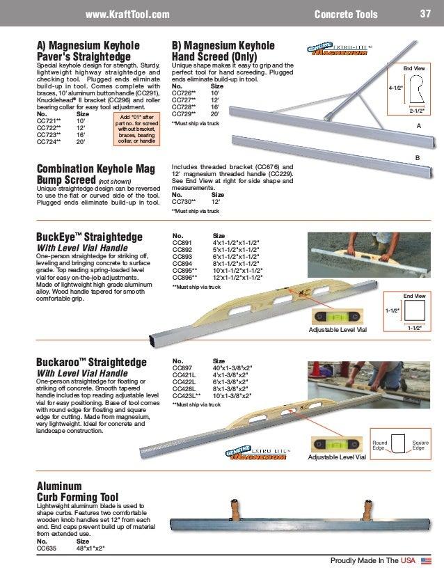 Kraft Tool CC891 4/' Concrete Float /& Buckeye Straightedge W// Level Vial 2x for sale online