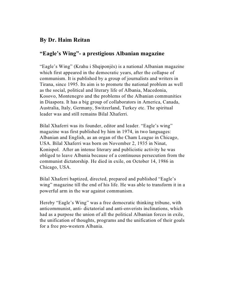"By Dr. Haim Reitan  ""Eagle's Wing""- a prestigious Albanian magazine  ""Eagle's Wing"" (Krahu i Shqiponjës) is a national Alb..."