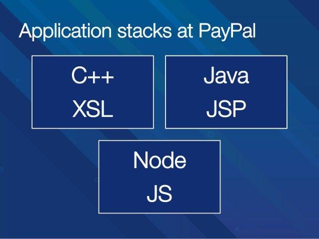 Application stacks at PayPal  C++ XSL  Java JSP Node JS