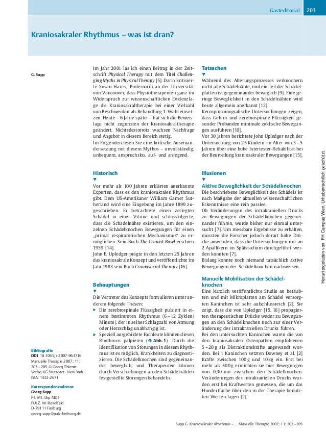 Kraniosakraler Rhythmus – was ist dran? G. Supp Bibliografie DOI 10.1055/s-2007-963716 Manuelle Therapie 2007; 11: 203–205...