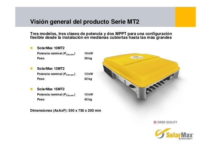 Visión general del producto Serie MT2Tres modelos, tres clases de potencia y dos MPPT para una configuraciónflexible desde...