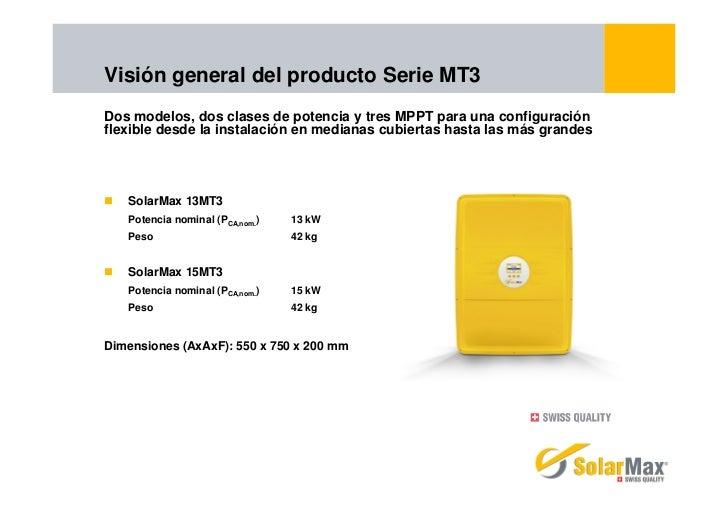 Visión general del producto Serie MT3Dos modelos, dos clases de potencia y tres MPPT para una configuraciónflexible desde ...
