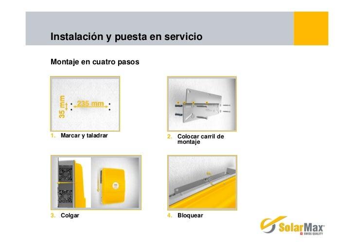 Instalación y puesta en servicioMontaje en cuatro pasos1. Marcar y taladrar      2. Colocar carril de                     ...