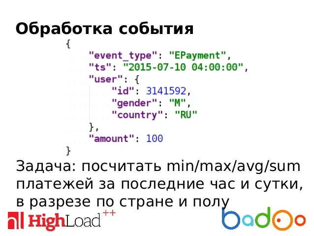 Обработка события 1. Берем 2 свеклы JSON-path 2. Парсим значимые поля события, согласно конфигурации (hello, products!) 3....
