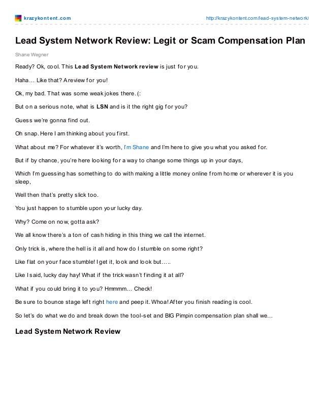 krazykont ent .com http://krazykontent.com/lead-system-network/ Shane Wegner Lead System Network Review: Legit or Scam Com...