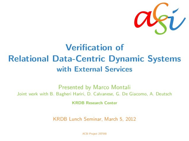a	    iSC	    Verification of Relational Data-Centric Dynamic Systems with External Services Presented by Marco Montali Joi...