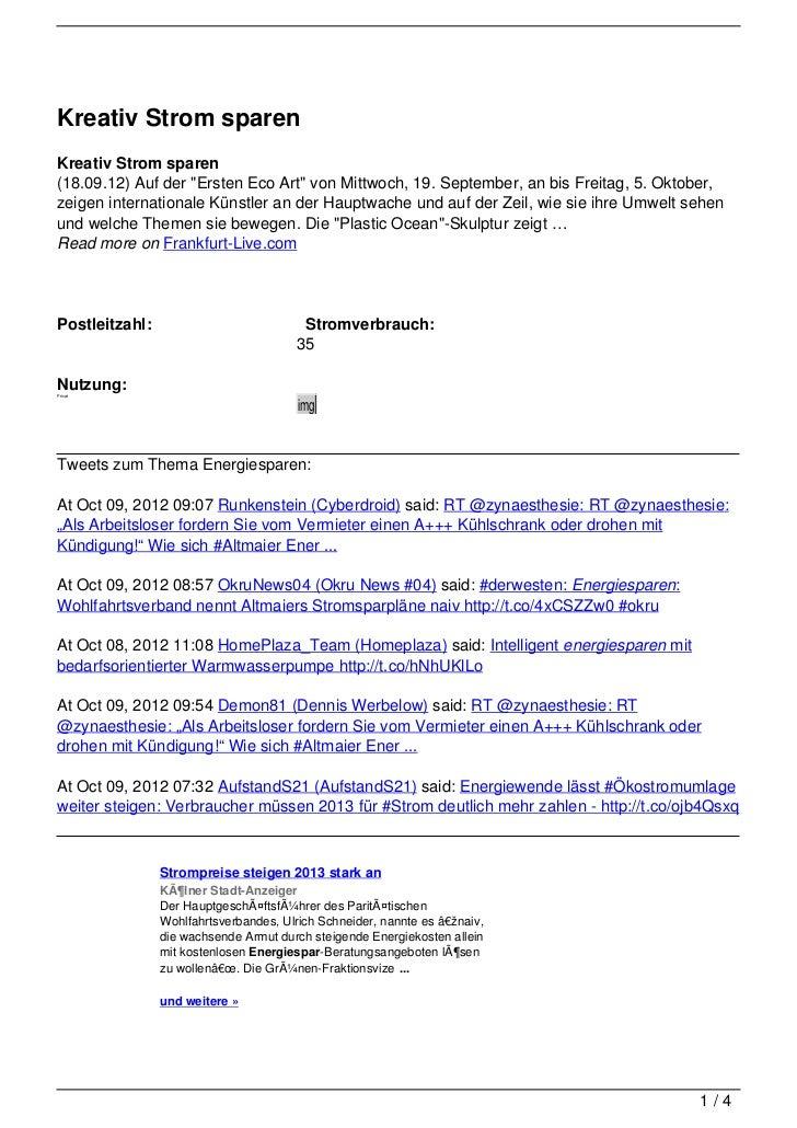 """Kreativ Strom sparenKreativ Strom sparen(18.09.12) Auf der """"Ersten Eco Art"""" von Mittwoch, 19. September, an bis Freitag, 5..."""