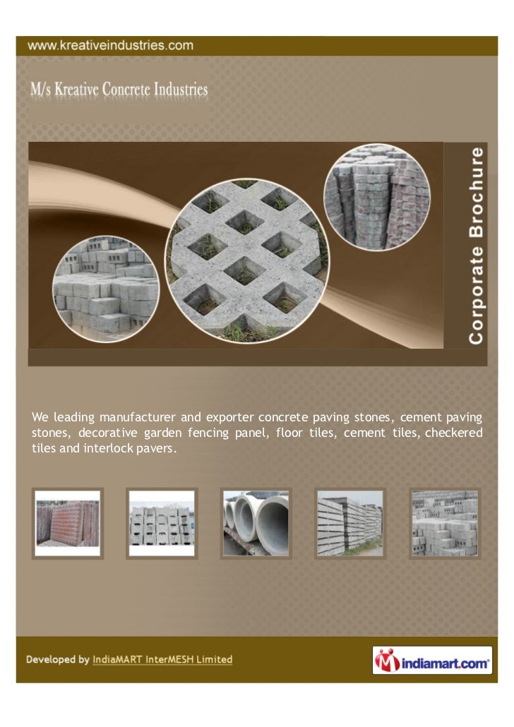 We leading manufacturer and exporter concrete paving stones, cement pavingstones, decorative garden fencing panel, floor t...