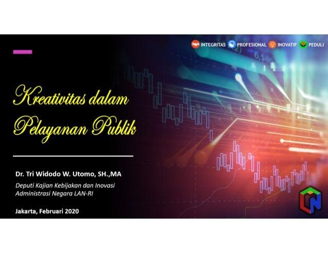 Dr. Tri Widodo W. Utomo, SH.,MA Deputi Kajian Kebijakan dan Inovasi Administrasi Negara LAN-RI Jakarta, Februari 2020 PEDU...