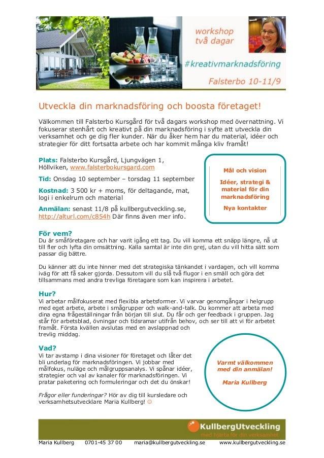 Kreativ marknadsföring! workshop 20140910-11