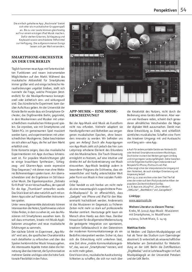"""Perspektiven                  54 Die einfach gehaltene App """"Rockmate"""" bietet      sich eher als musikalischer Gruppenspaß ..."""