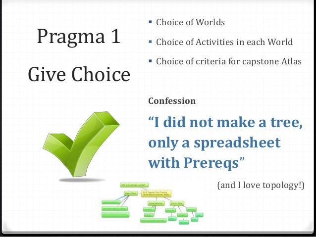 Pragma 1 Give Choice  Choice of Worlds  Choice of Activities in each World  Choice of criteria for capstone Atlas Confe...