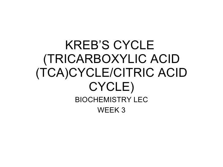 KREB'S CYCLE  (TRICARBOXYLIC ACID (TCA)CYCLE/CITRIC ACID CYCLE) BIOCHEMISTRY LEC WEEK 3