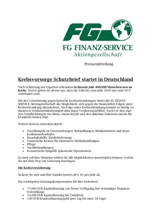 PressemitteilungKrebsvorsorge Schutzbrief startet in DeutschlandNach Schätzung der Experten erkranken in diesem Jahr 490.0...