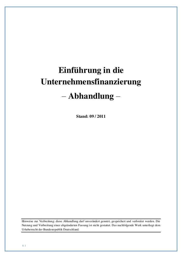Einführung in die              Unternehmensfinanzierung                               – Abhandlung –                      ...