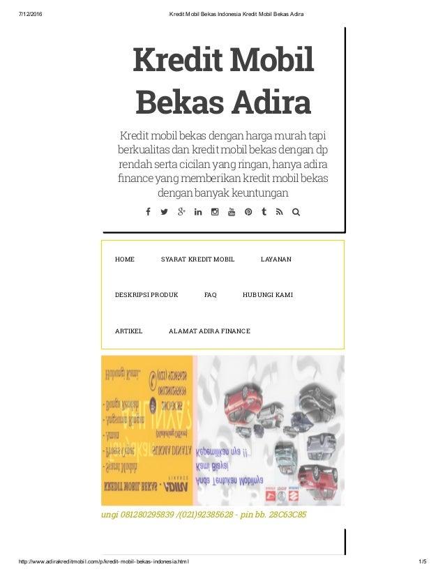 Kredit Mobil Bekas Indonesia Kredit Mobil Bekas Adira Kredit Mobil