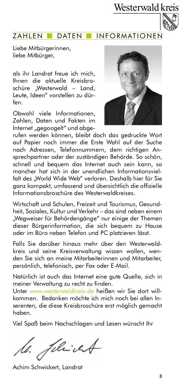 """Liebe Mitbürgerinnen,liebe Mitbürger,als ihr Landrat freue ich mich,Ihnen die aktuelle Kreisbro-schüre """"Westerwald – Land,..."""