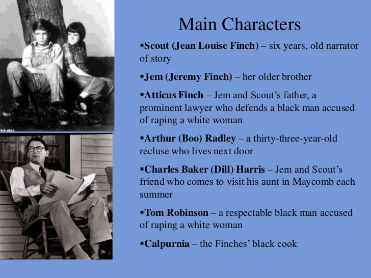 list of characters from to kill a mockingbird