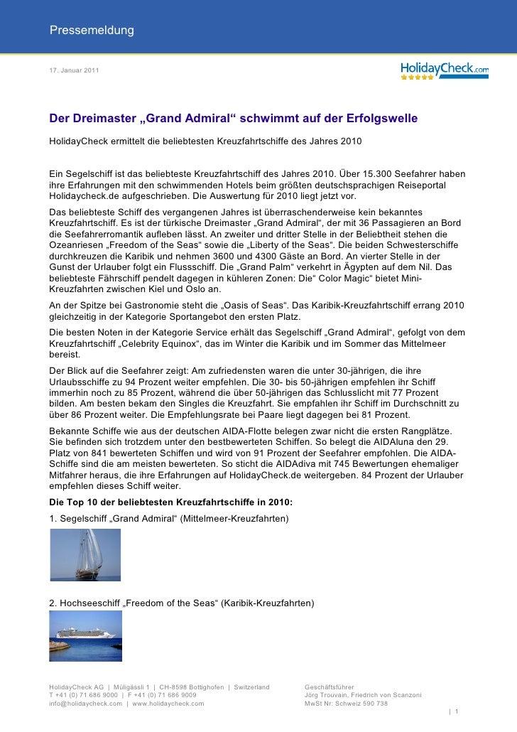 """Pressemeldung17. Januar 2011Der Dreimaster """"Grand Admiral"""" schwimmt auf der ErfolgswelleHolidayCheck ermittelt die beliebt..."""