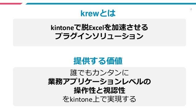2 kintoneで脱Excelを加速させる プラグインソリューション krewとは 提供する価値 誰でもカンタンに 業務アプリケーションレベルの 操作性と視認性 をkintone上で実現する