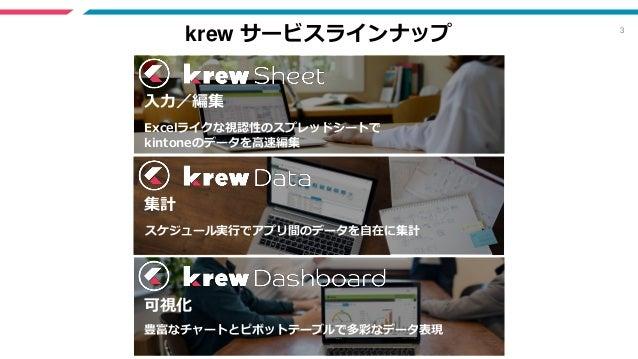 3 krew サービスラインナップ Excelライクな視認性のスプレッドシートで kintoneのデータを高速編集 入力/編集 スケジュール実行でアプリ間のデータを自在に集計 集計 豊富なチャートとピボットテーブルで多彩なデータ表現 可視化
