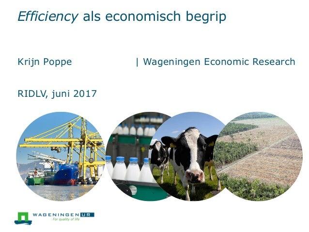 Efficiency als economisch begrip Krijn Poppe | Wageningen Economic Research RIDLV, juni 2017
