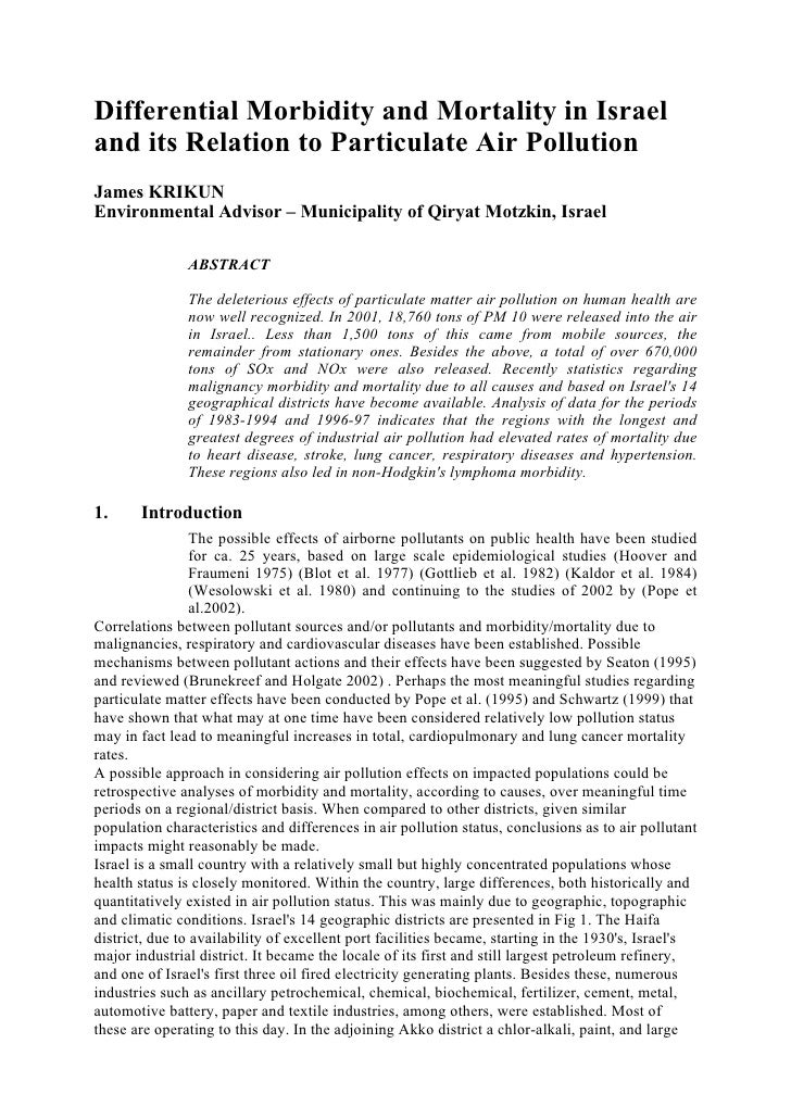 Differential Morbidity and Mortality in Israel and its Relation to Particulate Air Pollution James KRIKUN Environmental Ad...
